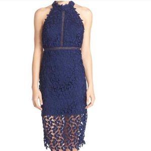 """Bardot halter dress in navy """"Gemma"""""""